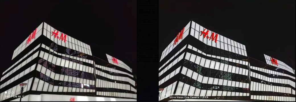 сравнение фотографий в ночное время Xiaomi Mi 11 и Mate 40 Pro